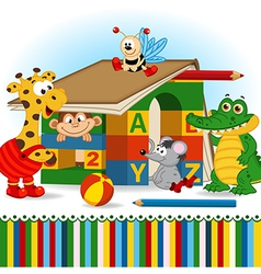 animals built house out of baby blocks vector image vector image