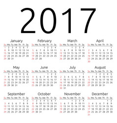 Calendar 2017 sunday vector