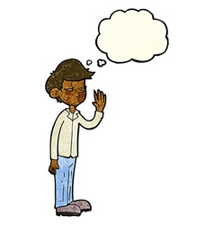 Cartoon arrogant boy with thought bubble vector