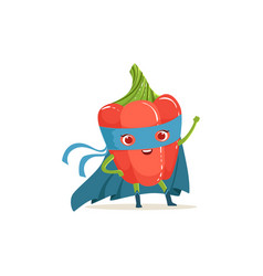 cartoon character of superhero pepper with hand up vector image vector image