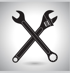 Crossed wrenches black silhouette signs vector