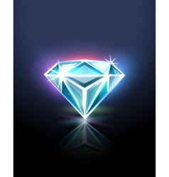 Diamond on black vector image vector image