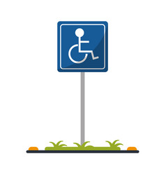 Disabled person wheelchair sign road vector
