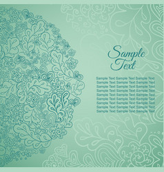 Doodle floral ethnic card mint colored vector