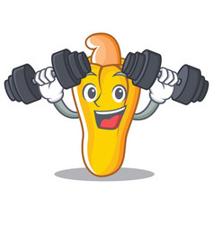 fitness cashew character cartoon style vector image