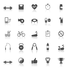 Fitness icons with reflect on white background vector