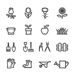Flower and Gardening Tools Icons vector image vector image
