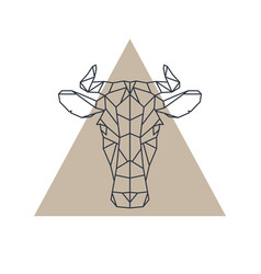 geometric cow head animal icon vector image
