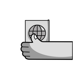 grayscale hand with passport to travel document id vector image