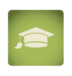 Green emblem graduation hat icon vector