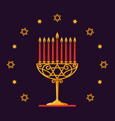 happy hanukkah gold menorah with red candles and vector image vector image