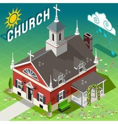 Isometric rural church building vector