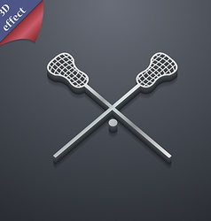 Lacrosse sticks crossed icon symbol 3d style vector
