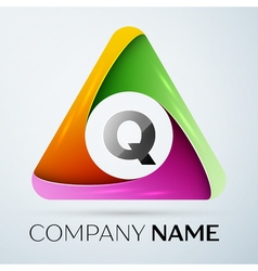 Letter q logo symbol in the colorful triangle vector