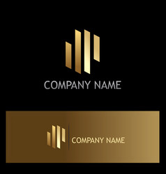 Line abstract gold business logo vector