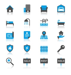Real estate flat with reflection icons vector image