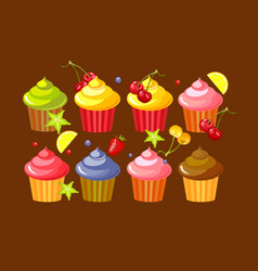 set fruit cupcakes vector image