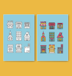 set of flat design buildings icons vector image vector image