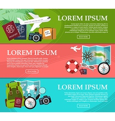 Set of horizontal banners on trips with space for vector image vector image