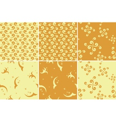 set of light and dark yellow patterns vector image