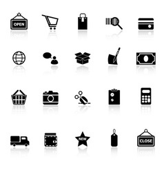 Shopping icons with reflect on white background vector