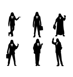 Six silhouettes of arab businessmen vector