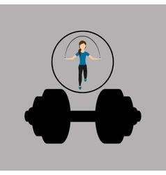 Sport woman jumping rope barbell vector