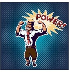 Strong man pop art poster vector image