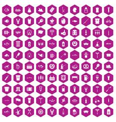 100 beer icons hexagon violet vector