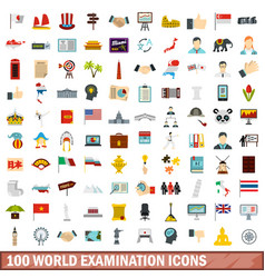 100 world examination icons set flat style vector image