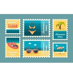 Beach stamp set summer vacation vector