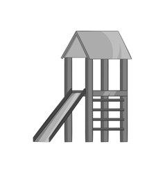 Playhouse with slide icon black monochrome style vector