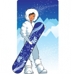 Pretty snowboarder vector