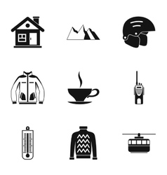 Winter holidays icons set simple style vector