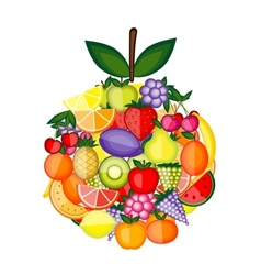 Apple shape made from fruits for your design vector