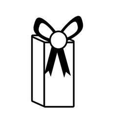Gift box party ribbon bow present outline vector
