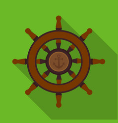 Wooden ship steering wheel icon in flat style vector