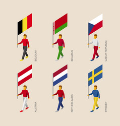 3d people with flags of european countries vector