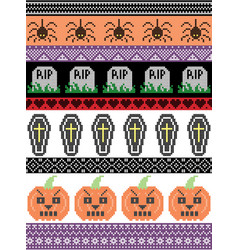 Halloween pattern with spider rip grave coffin vector