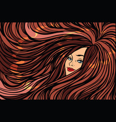 Beautiful girl with long hair left background vector