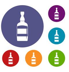 Brandy bottle icons set vector