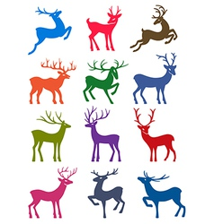 Twelve colored deer silhouettes vector