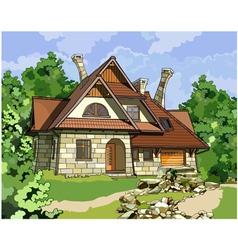 Fabulous stone house vector