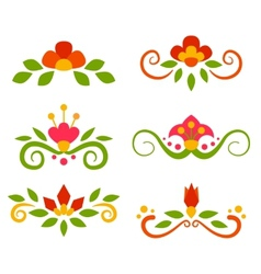 Set of floral fairy separators in flat style vector