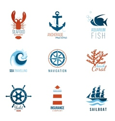 Sea theme logo templates vector