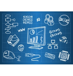 Blueprint of computer hardware vector