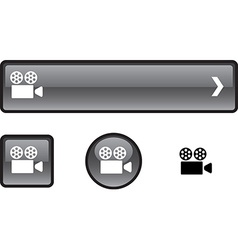 Cinema button set vector