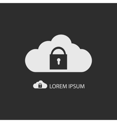 White cloud with lock on dark grey vector