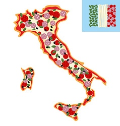 Pizza in shape of a map of italy ingredients vector