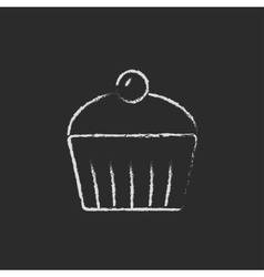 Cupcake with cherry icon drawn in chalk vector